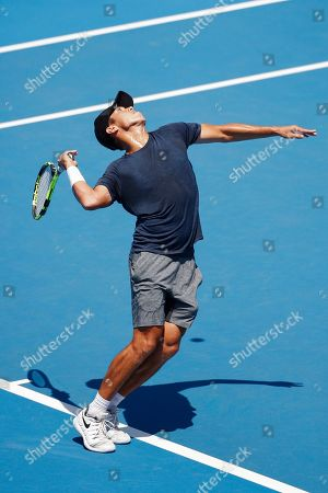 Jason Kubler of Australia serves against Janko Tipsarevic of Serbia during match two of the Kooyong Classic at Kooyong Lawn Tennis Club in Melbourne, Australia, 08 January 2019.