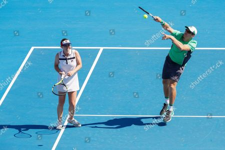 John Peers (R) and Sally Peers (L) of Australia play mixed doubles against Bernard Tomic and Sara Tomic of Australia during match four of Kooyong Classic tennis tournament at Kooyong Lawn Tennis Club in Melbourne, Australia, 08 January 2019.