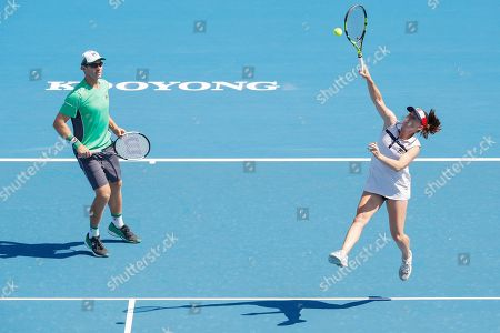 John Peers (L) and Sally Peers (R) of Australia play mixed doubles against Bernard Tomic and Sara Tomic of Australia during match four of Kooyong Classic tennis tournament at Kooyong Lawn Tennis Club in Melbourne, Australia, 08 January 2019.