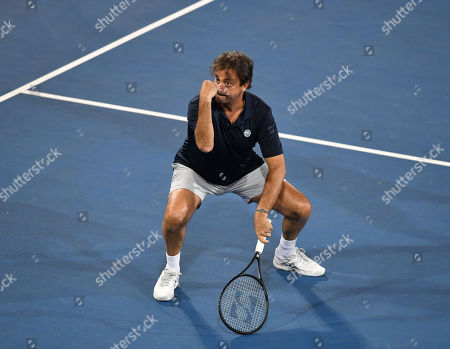 Henri Leconte is seen during his doubles match against Pat Cash and Daniel Munoz on day two at the World Tennis Challenge at Memorial Drive Park in Adelaide, Australia, 08 January 2019.