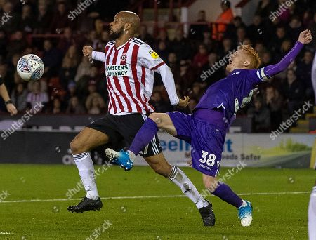 David McGoldrick of Sheff Utd against Ryan Woods of Stoke