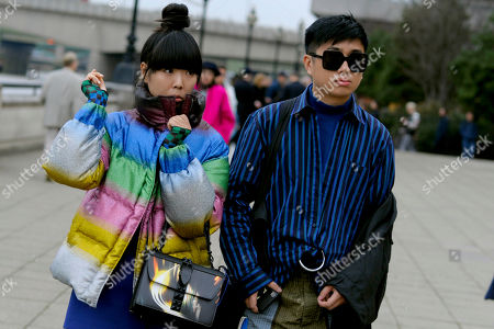 Susie Bubble aka Style bubble with Declan Chan leaving Craig Green show Nowak at Old Billingsgate market.