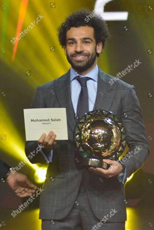 Mohamed Salah from Egypt receives the Player of the Year award during the Confederation of African Football (CAF) awards at the Abdou Diouf International Conference Center in Dakar, Senegal 08 January 2019.