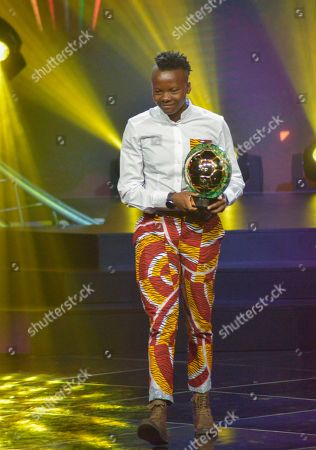 Chrestinah Thembi Kgatlana from South Africa receives the Womens Player of the Year award during the Confederation of African Football (CAF) awards at the Abdou Diouf International Conference Center in Dakar, Senegal, 08 January 2019. Chrestinah Thembi Kgatlana also won the best goal award.