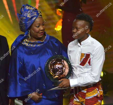 Chrestinah Thembi Kgatlana from South Africa (R) receives the Womens Player of the Year award from FIFA secretary general Fatma Samoura (L) during the Confederation of African Football (CAF) awards at the Abdou Diouf International Conference Center in Dakar, Senegal 08 January 2019. Chrestinah Thembi Kgatlana also won the best goal award.