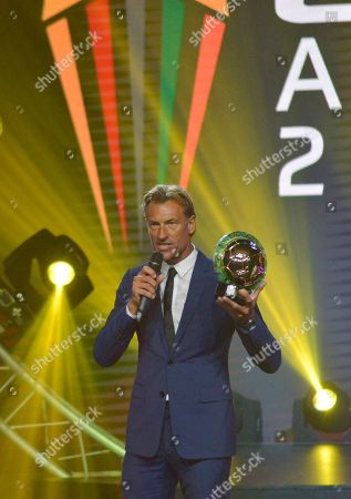 Morocco coach Herve Renard from France receives the Coach of the Year award during the Confederation of African Football (CAF) awards at the Abdou Diouf International Conference Center in Dakar, Senegal 08 January 2019.