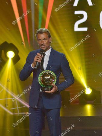 Stock Image of Morocco coach Herve Renard from France receives the Coach of the Year award during the Confederation of African Football (CAF) awards at the Abdou Diouf International Conference Center in Dakar, Senegal 08 January 2019.