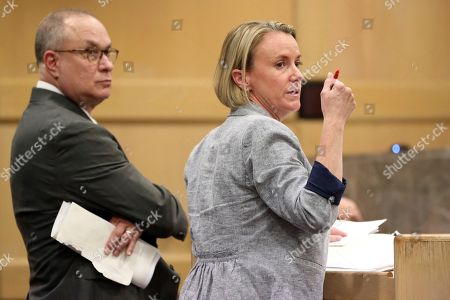 Stock Image of Defense attorney Melisa McNeill and special assistant public defender David Frankel are shown during a status hearing for Parkland school shooter Nikolas Cruz's cases at the Broward Courthouse in Fort Lauderdale on