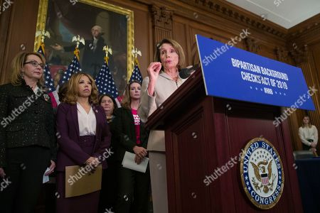 Nancy Pelosi, Gabby Giffords, Lucy McBath, Shannon Watts. House Speaker Nancy Pelosi of Calif., center, speaks accompanied by gun violence victim former Rep. Gabby Giffords, left, Rep. Lucy McBath, D-Ga., and Shannon Watts, who founded Moms Demand Action, second from right, to announce the introduction of bipartisan legislation to expand background checks for sales and transfers of firearms, on Capitol Hill, in Washington