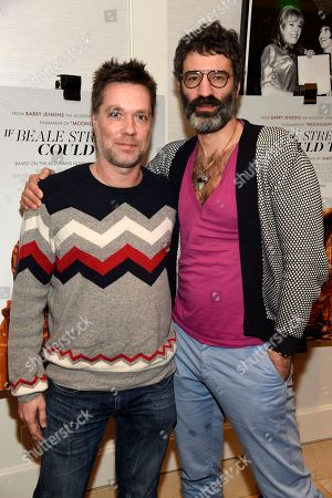 """Stock Photo of Rufus Wainwright, Jorn Weisbrodt. Singer Rufus Wainwright, left, and his husband Jorn Weisbrodt pose together before a special screening of the film """"If Beale Street Could Talk"""" at the London Hotel, in West Hollywood, Calif"""