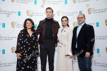 Pippa Harris, Will Poulter, Hayley Squires, Marc Samuelson. BAFTA Chair Pippa Harris, from left, actors Will Poulter, Hayley Squires and BAFTA Chair of the Film Committee Marc Samuelson pose for photographers following the BAFTA Film Awards nominations announcement in London, . The film The Favourite leads the race with 12 nominations at the awards taking place in London on February 10