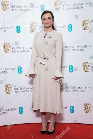 Hayley Squires poses for photographers following the BAFTA Film Awards nominations announcement in London, . The film The Favourite leads the race with 12 nominations at the awards taking place in London on February 10