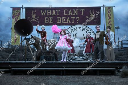 Stock Picture of Kitana Turnbull as Carmelita Spats and Roger Bart as Vice Principal Nero