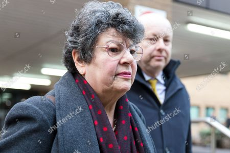 Marion Little, party activist leaves Southwark Crown Court after being given a suspended sentence and found guilty of two charges in connection with breaking electoral expenses rules in Craig Mackinlay's 2015 general election campaign.
