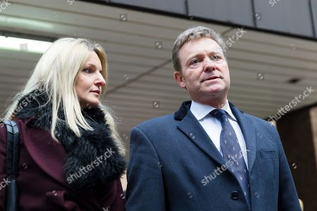 Craig Mackinlay with his wife, Kati leave Southwark Crown Court after he was cleared of breaking electoral expenses rules in his 2015 general election campaign.