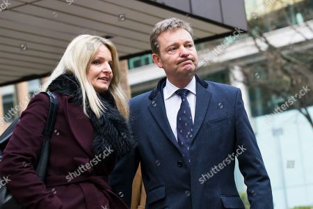 Stock Image of Craig Mackinlay with his wife, Kati leave Southwark Crown Court after he was cleared of breaking electoral expenses rules in his 2015 general election campaign.