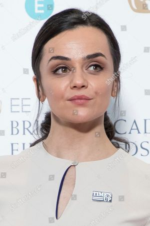 Hayley Squires poses for photographers following the BAFTA Film Awards nominations announcement in London
