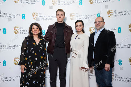 Stock Image of Pippa Harris, Will Poulter, Hayley Squires, Marc Samuelson. BAFTA Chair Pippa Harris, from left, actors Will Poulter, Hayley Squires and BAFTA Chair of the Film Committee Marc Samuelson pose for photographers following the BAFTA Film Awards nominations announcement in London