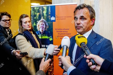 Dutch undersecretary of Migration Mark Harbers (R) talks to journalists in the department of Justice in The Hague, The Netherlands, 09 January 2019. The Netherlands announced it will host six of the rescued 49 migrants from two NGO rescue vessels that were allowed to transfer them to Maltese military ships and land on Malta on 08 January. The NGO rescue vessels 'Sea-Watch 3' and 'Professor Albrecht Penck' had picked up 32 migrants on 22 December 2018, and further 17 migrants on 29 December 2019 respectively, but had been denied entry in European ports after refusing to hand over the migrants to the Libyan Coast Guard.