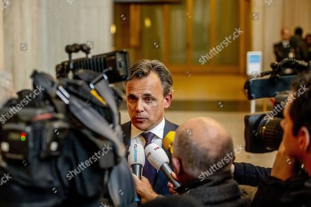 Dutch undersecretary of Migration Mark Harbers (C) talks to journalists in the department of Justice in The Hague, The Netherlands, 09 January 2019. The Netherlands announced it will host six of the rescued 49 migrants from two NGO rescue vessels that were allowed to transfer them to Maltese military ships and land on Malta on 08 January. The NGO rescue vessels 'Sea-Watch 3' and 'Professor Albrecht Penck' had picked up 32 migrants on 22 December 2018, and further 17 migrants on 29 December 2019 respectively, but had been denied entry in European ports after refusing to hand over the migrants to the Libyan Coast Guard.