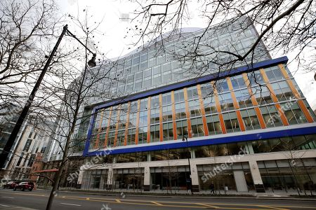 This photo shows the exterior of Facebook's new 130,000-square-foot offices, which occupy the top three floors of a 10-story Cambridge, Mass. building. The space gives the company room to triple its current local staff of more than 200. The Silicon Valley company, created by Mark Zuckerberg when he was two subway stops away at Harvard University, opened its first Boston office five years ago