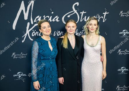 Stock Image of Josie Rourke, German actress Maria-Victoria Dragus and US-Irish actress Saoirse Ronan pose during a photocall of the movie 'Mary Queen of Scots' in Berlin, Germany, 09 January 2019. The movie will be open to the public on 17 January.