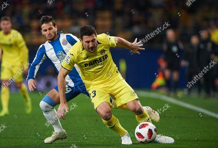 Daniele Bonera of Villarreal CF and Pablo Piatti of RCD Espanyol
