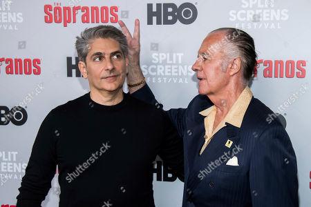 "Michael Imperioli, Tony Sirico. Michael Imperioli, left, and Tony Sirico attend HBO's ""The Sopranos"" 20th anniversary at the SVA Theatre, in New York"