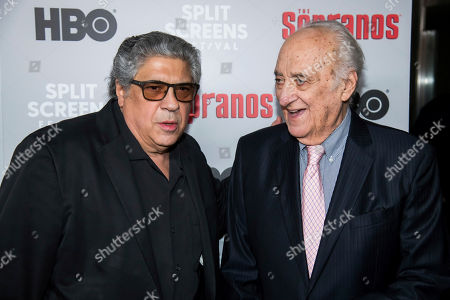 """Jerry Adler, Vincent Pastore. Vincent Pastore, left, and Jerry Adler attends HBO's """"The Sopranos"""" 20th anniversary at the SVA Theatre, in New York"""