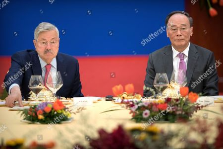 US Ambassador to China Terry Branstad (L) and Chinese Vice President Wang Qishan (R) attend an event commemorating the 40th anniversary of the establishment of diplomatic relations between the United States and China at the Great Hall of the People in Beijing, China, 10 January 2019.
