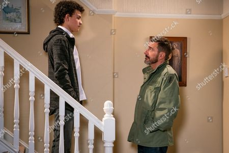 Ep 9675 Wednesday 23 January 2019 - 2nd Ep When Steve McDonald reveals his suspicions about Simon Barlow, as played by Alex Bain, Tracy McDonald reads a text from Simon on Amy's phone and sets off on the warpath. In front of Peter Barlow, as played by Chris Gascoyne, Tracy accuses Simon of getting Amy pregnant. Simon denies it but it's clear he's hiding something.
