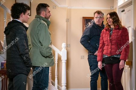 Stock Image of Ep 9675 Wednesday 23 January 2019 - 2nd Ep When Steve McDonald, as played by Simon Gregson, reveals his suspicions about Simon Barlow, as played by Alex Bain, Tracy McDonald, as played by Kate Ford, reads a text from Simon on Amy's phone and sets off on the warpath. In front of Peter Barlow, as played by Chris Gascoyne, Tracy accuses Simon of getting Amy pregnant. Simon denies it but it's clear he's hiding something.