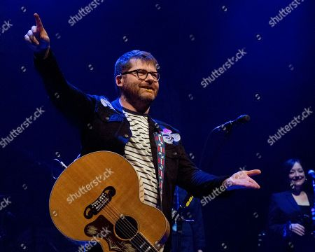 Stock Photo of Decemberists in concert, Sony Centre, Toronto, Ontario, Canada - Colin Meloy