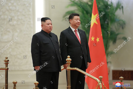 A photo released by the official North Korean Central News Agency (KCNA) shows North Korean leader Kim Jong-un (L) standing with Chinese President Xi Jinping (R) during his visit in Beijing, China, 10 January 2019. North Korean leader Kim Jong-un is in China at the invitation of Chinese President Xi Jinping from 07 to 10 January with his wife Ri Sol-ju.