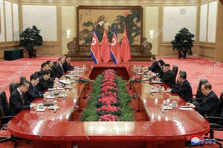 A photo released by the official North Korean Central News Agency (KCNA) shows North Korean leader Kim Jong-un (3-R) attending a  meeting with Chinese President Xi Jinping (4-L) during his visit in Beijing, China, 10 January 2019. North Korean leader Kim Jong-un is in China at the invitation of Chinese President Xi Jinping from 07 to 10 January with his wife Ri Sol-ju.