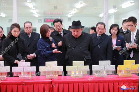 A photo released by the official North Korean Central News Agency (KCNA) shows North Korean leader Kim Jong-un (C) during his visit to Beijing, China, 10 January 2019. North Korean leader Kim Jong-un is in China at the invitation of Chinese President Xi Jinping from 07 to 10 January with his wife Ri Sol-ju.