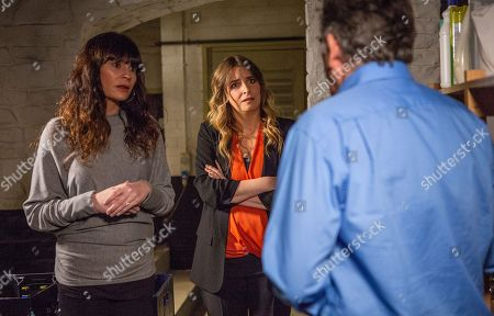 Ep 8374 Wednesday 23rd January 2019 Bob Hope, as played by Tony Audenshaw, is almost caught sleeping in the cellar by Chas Dingle, as played by Lucy Pargeter, and Charity Dingle, as played by Emma Atkins.