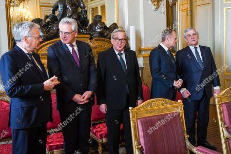 Didier Reynders, Kris Peeters, Jean-Claude Juncker, Donald Tusk, Antonio Tajani