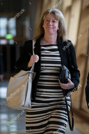 Stock Picture of Scottish Parliament First Minister's Questions - Shona Robison makes her way to the Debating Chamber.