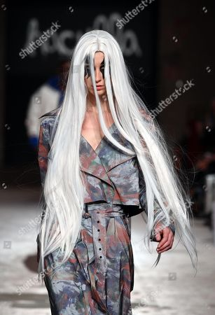 Stock Photo of Models present creations from Haculla by Harif Guzman and Jon Koon during the 95th Pitti Immagine Uomo in Florence, Italy, 10 January 2019. The fashion fair runs from 08 to 11 January.