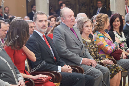 King Felipe VI, Queen Letizia, Juan Carlos of Spain, Princess Infanta Pilar, Princess Elena