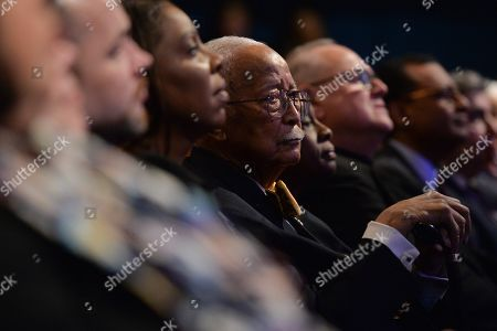 Former mayor David Dinkins attends the State of the City address at Symphony Space in New York.