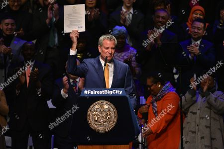 Mayor Bill DeBlasio delivers the State of the City address at Symphony Space in New York.