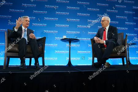 David Rubenstein, Jerome Powell. Federal Reserve Board Chair Jerome Powell talks with Carlyle Group co-CEO David Rubenstein during the Economic Club of Washington luncheon, in Washington