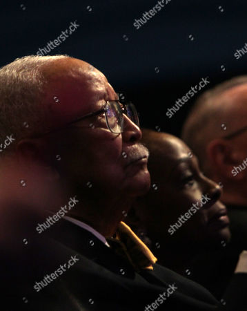 Former New York City Mayor David Dinkins looks on as New York City Mayor Bill de Blasio with an introduction by New York First Lady Chirlane McCray, delivers the 2019 State of the City Address to New Yorkers and Elected Officials in attendance held at Symphony Space