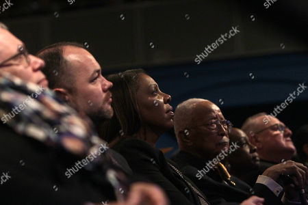 New York City Council Speaker Corey Johnson, New York State Attorney General Leticia James, Former New York City Mayor David Dinkins, New York City First Lady Chirlane McCray and New York Cardinal Timothy Dolan look on as New York City Mayor Bill de Blasio with an introduction by New York First Lady Chirlane McCray, delivers the 2019 State of the City Address to New Yorkers and Elected Officials in attendance held at Symphony Space