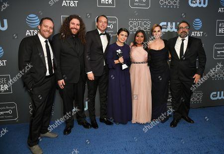 Cast of 'Roma' - Jeff Skoll, Adam Gough, Nicolas Celis, Gabriela Rodriguez, Yalitza Aparicio, Marina De Tavira, and Eugenio Caballero