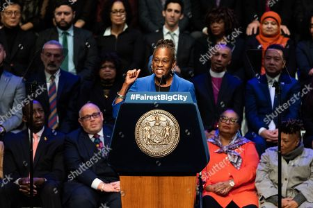 First Lady of New York City Chirlane McCray seen speaking at the State of the City Address at the Peter Jay Sharp Theater at Symphony Space