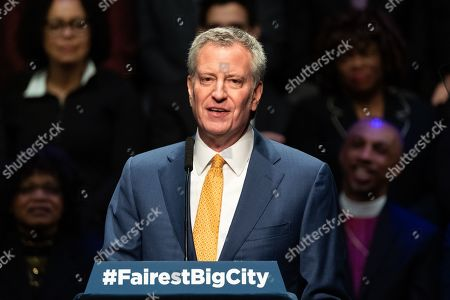 New York City Mayor Bill de Blasio seen speaking at the State of the City Address at the Peter Jay Sharp Theater at Symphony Space