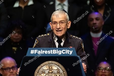 Stock Photo of New York City Police Department Chaplain Rabbi Alvin Kass seen giving the invocation at the State of the City Address at the Peter Jay Sharp Theater at Symphony Space
